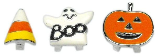 "Pet Charm: 3/8"" (10mm) HALLOWEEN CRYSTAL SLIDING CHARM Slide onto Pet Collar in 3 Designs"