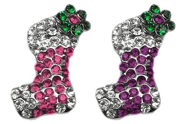 "Pet Charms: 3/8"" (10mm) HOLIDAY PINK or PURPLE STOCKING CRYSTAL SLIDING CHARM to Slide onto Pet Collar"