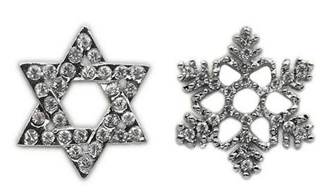 "Pet Charms: 3/8"" (10mm) HOLIDAY SILVER CRYSTAL SLIDING CHARM"