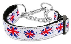 Martingale Dog Collars: GRAFFITI UNION JACK (UK Flag) Nylon Ribbon Dog Collar