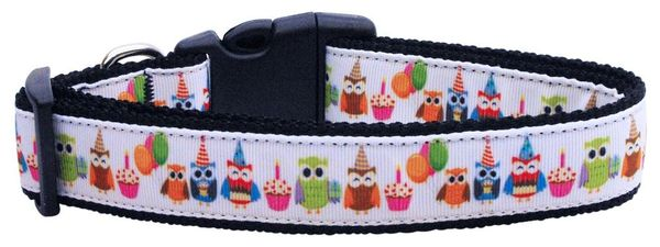 Dog Collars: Cute Nylon Ribbon CAT/Dog Collar PARTY OWLS- Matching Leash Sold Separately