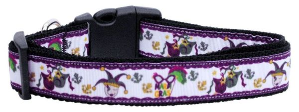 Dog Collars: Nylon Ribbon CAT/Dog collar MARDI GRAS - Matching Leash Sold Separately