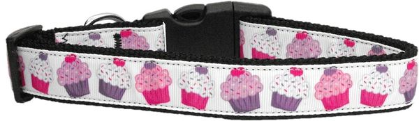 Dog Collars: Nylon Ribbon Cat/Dog Collar PINK & PURPLE CUPCAKES - Matching Leash Sold Separately