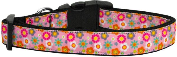 Dog Collars: Nylon Ribbon Dog Collar PINK SPRING FLOWERS - Matching Leash Sold Separately