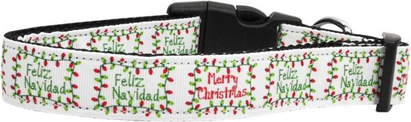 Dog Collars: Nylon Ribbon CAT/Dog Collar FELIZ NAVIDAD - Matching Leash Sold Separately