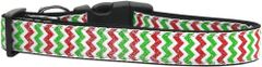 Holiday Dog Collars: Nylon Ribbon Collar by MiragePetProducts - CHRISTMAS SPARKLE CHEVRON