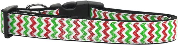 Holiday Dog Collars: Nylon Ribbon Collar CHRISTMAS SPARKLE CHEVRON - Matching Leash Sold Separately