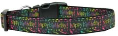 Dog Collars: Nylon Ribbon dog collar by MiragePetProducts -HAPPY BIRTHDAY