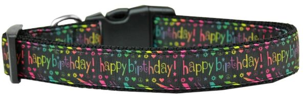 Dog Collars: Nylon Ribbon dog collar HAPPY BIRTHDAY - Matching Leash Sold Separately