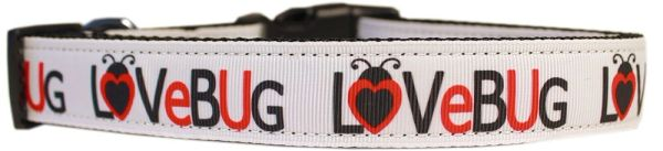 Dog Collars: Cute Nylon Ribbon CAT/Dog Collar LOVE BUG - Matching Leash Sold Separately