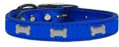 Leather Dog Collars: METALLIC Leather Dog Collar Mirage Pet Products USA - SILVER BONE Widgets