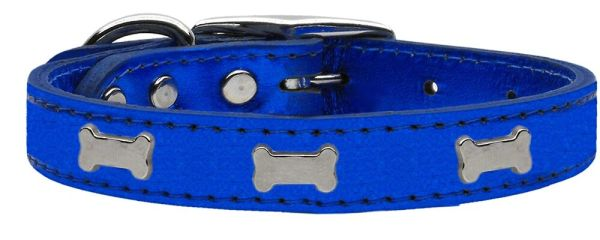 Leather Dog Collars: METALLIC Leather Dog Collar Mirage Pet Products USA - SILVER BONE Widgets