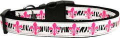 Nylon Ribbon Dog Collar - PINK FLEUR DE LIS with Durable Hardware in Several Sizes - Matching Leash sold separately