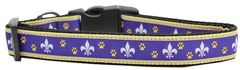 Nylon Ribbon Dog Collar - PURPLE & YELLOW FLEUR DE LIS with Durable Hardware in Several Sizes - Matching Leash sold separately