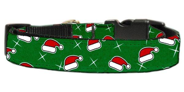 Dog Collars: CHRISTMAS SANTA'S HATS Nylon Ribbon Cat/Dog Collar - Matching Leash Sold Separately