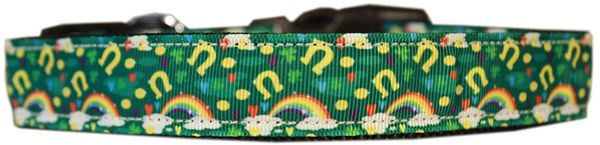 Dog Collars: Nylon Cat/Dog Ribbon Collar LUCKY PUPPY CHARMS - Matching Leash Sold Separately