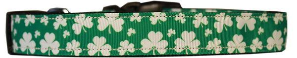 Dog Collars: Nylon Cat/Dog Ribbon Collar SHAMROCKS - Matching Leash Sold Separately