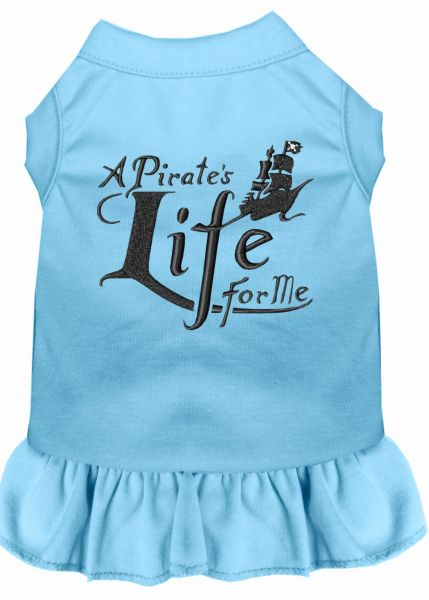 DOG DRESSES: Embroidered Dog Dress A PIRATE'S LIFE FOR ME in 7 Different Solid Colors & Sizes 10 (Sm) - 22 (4X) Made in USA