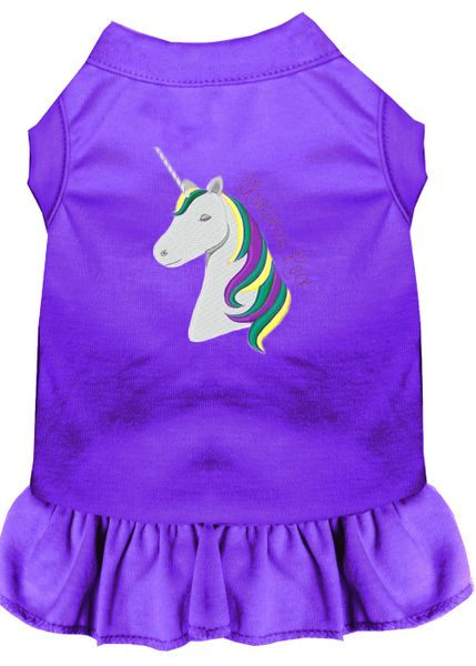 DOG DRESSES: Embroidered Dog Dress UNICORNS ROCK in 7 Different Solid Colors & Sizes 10 (Sm) - 22 (4X) Made in USA