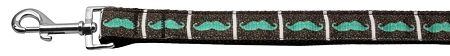 Nylon Dog Leashes: Aqua Moustaches Nylon Dog Leash Mirage Pet Products USA