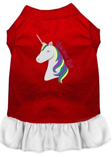 DOG DRESSES: Embroidered Dog Dress UNICORNS ROCK in 4 Different Mixed Colors & Sizes 10 (Sm) - 20 (3X) Made in USA