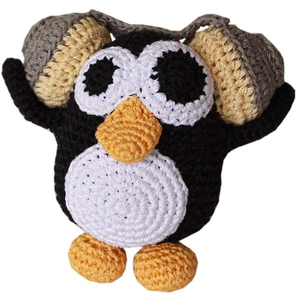 DOG TOYS: Handmade Knit Knack Pet Toy 100% Organic Cotton for Fun & Cleaning Teeth - HIPSTER THE PENGUIN