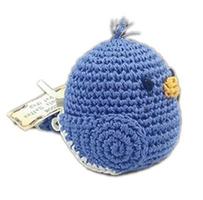 DOG TOYS: Handmade Knit Knack Pet Toy 100% Organic Cotton for Fun & Cleaning Teeth - BLUEBERRY BILL