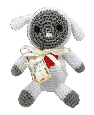 DOG TOYS: Handmade Knit Knack Pet Toy 100% Organic Cotton for Fun & Cleaning Teeth - FLEECE THE LAMB