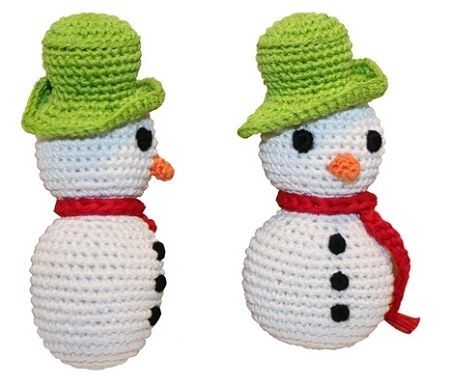 DOG TOYS: Handmade Knit Knack Pet Toy 100% Organic Cotton for Fun & Cleaning Teeth - FROST THE SNOWMAN