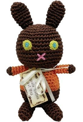 DOG TOYS: Handmade Knit Knack Pet Toy 100% Organic Cotton for Fun & Cleaning Teeth - MOCK CHOCO EASTER BUNNY