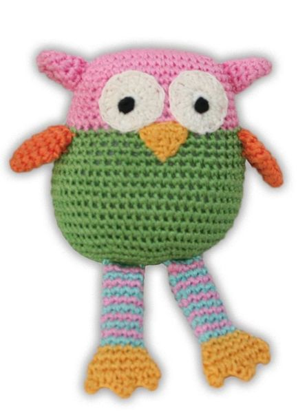 DOG TOYS: Handmade Knit Knack Pet Toy 100% Organic Cotton for Fun & Cleaning Teeth - WISE GUY OWL