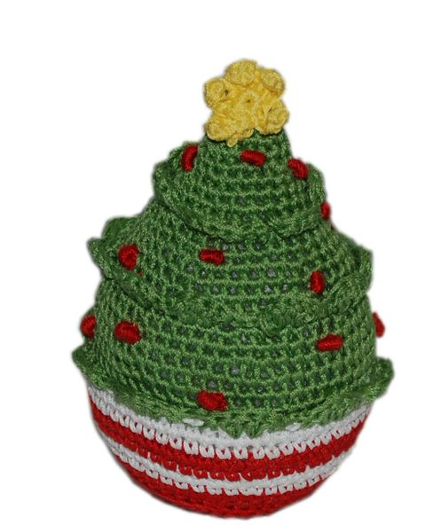 DOG TOYS: Handmade Knit Knack Pet Toy 100% Organic Cotton for Fun & Cleaning Teeth - CHRISTMAS TREE