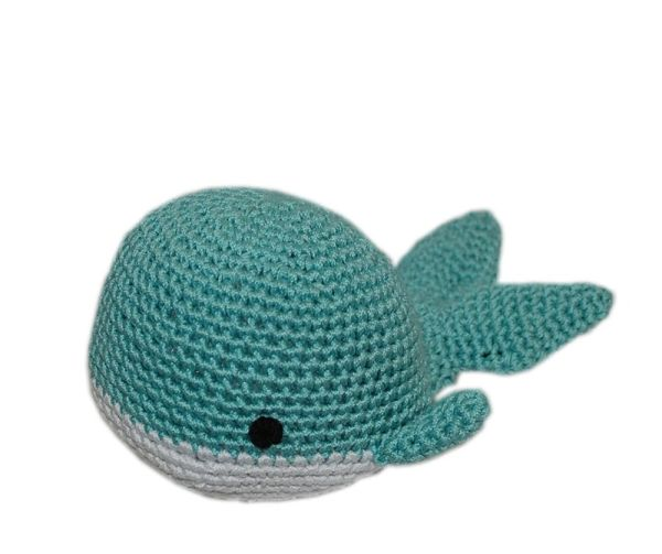 DOG TOYS: Handmade Knit Knack Pet Toy 100% Organic Cotton for Fun & Cleaning Teeth - WHALE
