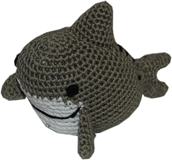 DOG TOYS: Handmade Knit Knack Pet Toy 100% Organic Cotton for Fun & Cleaning Teeth - SHARK