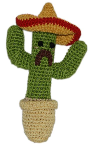 DOG TOYS: Handmade Knit Knack Pet Toy 100% Organic Cotton for Fun & Cleaning Teeth - CACTUS