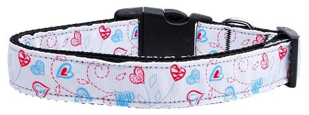 Dog Collars: Nylon Ribbon Collar PATRIOTIC CRAZY HEARTS - Matching Leash Sold Separately