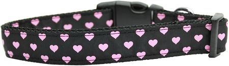 Dog Collars: Nylon Ribbon Collar PINK & BLACK DOTTY HEARTS - Matching Leash Sold Separately