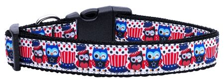 Dog Collars: Nylon Ribbon Collar PROUD OWLS by MiragePe Products - Matching Leash Sold Separately