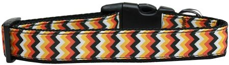 Holiday Nylon Dog Collars: Nylon Ribbon Collar PUMPKIN CHEVRONS - Matching Leash Sold Separately
