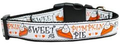 Holiday Nylon Dog Collars: Nylon Ribbon Collar PUMPKIN PIE - Matching Leash Sold Separately