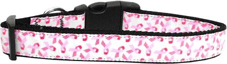 Dog Collars: Dog Collar PINK RIBBONS ON WHITE - Matching Leash Sold Separately