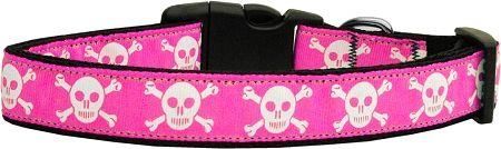 Dog Collars: Nylon Ribbon Dog Collar PINK SKULLS MiragePetProducts - Matching Leash Sold Separately