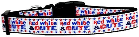 Dog Collars: Nylon Ribbon Collar RED, WHITE & CUTE - Matching Leash Sold Separetaly