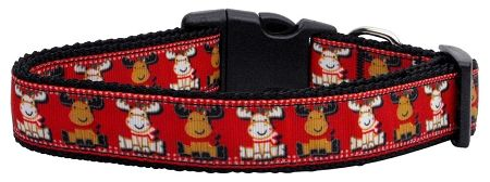 Nylon Dog Collars: Nylon Ribbon Collar REINDEER by MiragePetProducts - Matching Leash Sold Separately