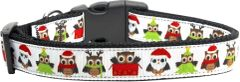 Holiday Dog Collars: Nylon Ribbon Dog Collar by Mirage Pet Products - SANTA OWLS