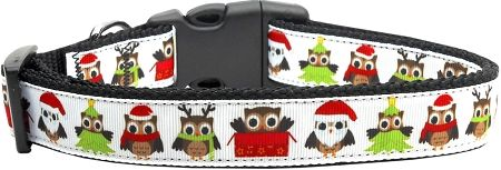Holiday Dog Collars: Nylon Ribbon Dog Collar SANTA OWLS - Matching Leash Sold Separately