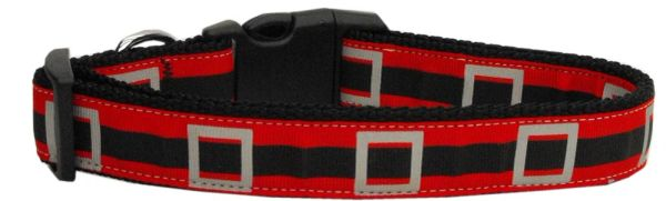 Holiday Dog Collars: Nylon Ribbon Collar SANTA'S BELT - Matching Leash Sold Separately