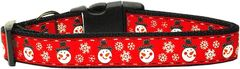 Holiday Dog Collars: Nylon Ribbon Collar by Mirage Pet Products USA - SNOWMEN
