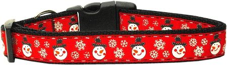 Holiday Dog Collars: Nylon Ribbon Collar SNOWMEN by MiragePetProducts - Matching Leash Sold Separately