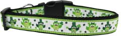 Nylon Dog Collars: Nylon Ribbon Collar ST. PATTY'S DAY PARTY OWLS - Matching Leash Sold Separately